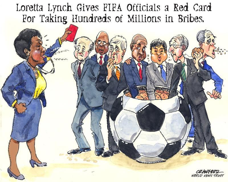 """FIFA gets a red card."" Editorial cartoon by Gregory Crawford. © 2015 World News Trust."