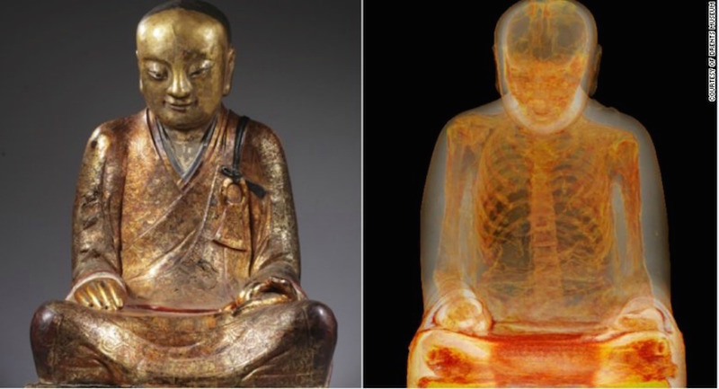 A gold statue of Buddha housed at Hungary's Natural History Museum has been discovered to contain the mummified body of an ancient Chinese monk. PHOTO CREDIT: Courtesy Drents Museum