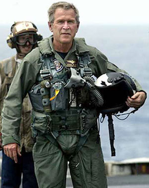 "President George W. Bush in a flight suit after landing on the USS Abraham Lincoln to give his ""Mission Accomplished"" speech about the Iraq War on May 1, 2013."