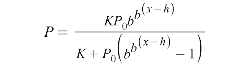 Double exponential logistic formula