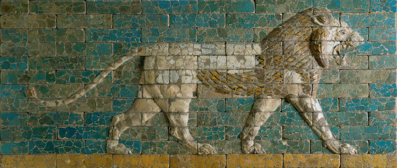 Panel with striding lion. Period: Neo-Babylonian. Date: ca. 604–562 B.C. Geography: Mesopotamia, Babylon (modern Hillah)  Culture: Babylonian. Medium: Ceramic, glaze.  Dimensions: H. 38 1/4 in. (97.2 cm). Classification: Ceramics.