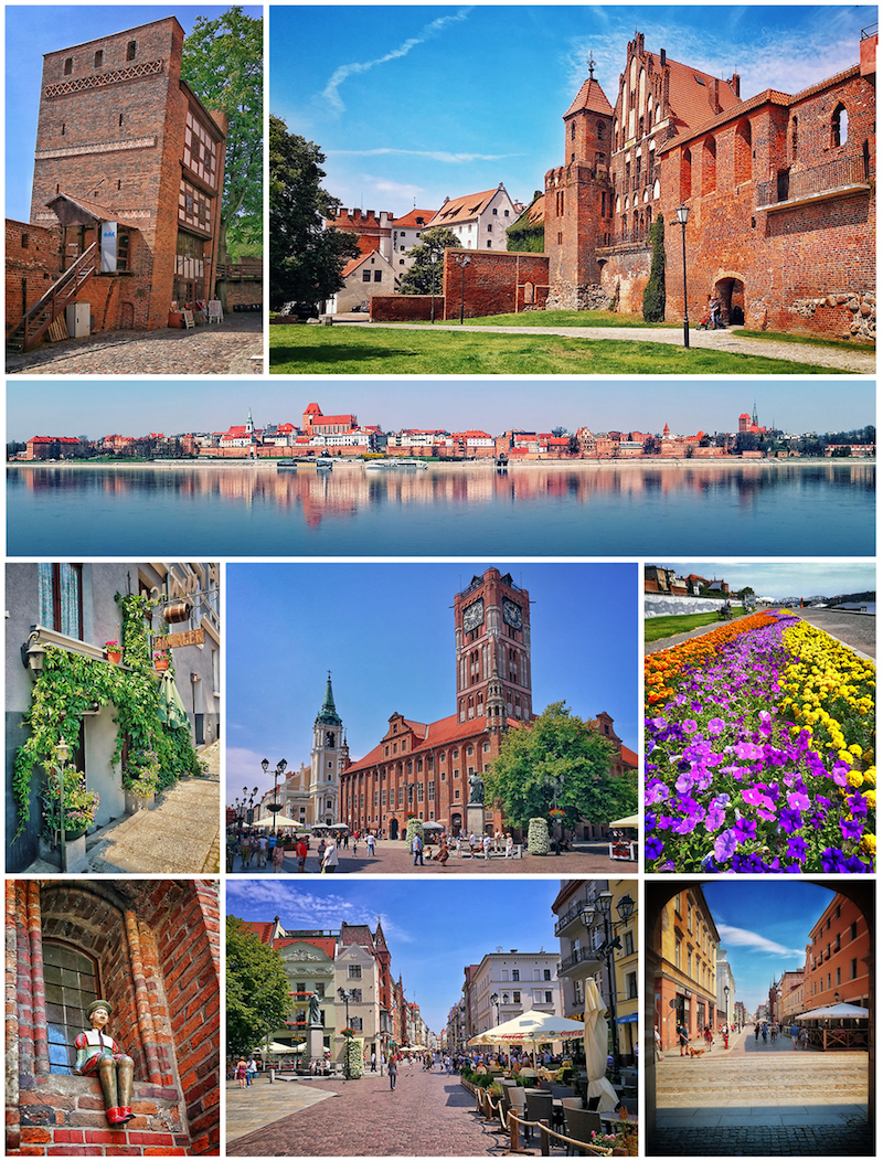 From top, left to right: Leaning Tower of Toruń -- Gothic defensive walls -- Old Town seen from the Vistula -- Św. Ducha Street -- Town Hall -- Philadelphia riverbanks -- Tenement detail -- Marketplace -- Różana Street. By Mateuszgdynia, (CC BY-SA 4.0), https://commons.wikimedia.org/w/index.php?curid=61841420