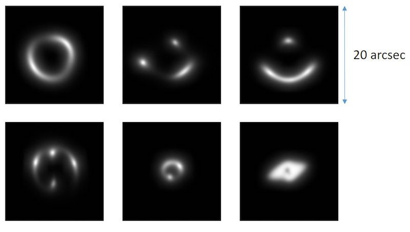 This picture shows a sample of the handmade photos of gravitational lenses that the astronomers used to train their neural network. Credit: Enrico Petrillo, University of Groningen