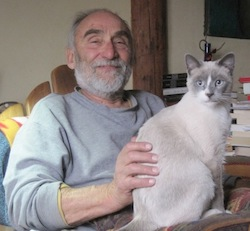 "Genius cat Sheba with Emanuele Corso, looking like ""an old Sicilian."""